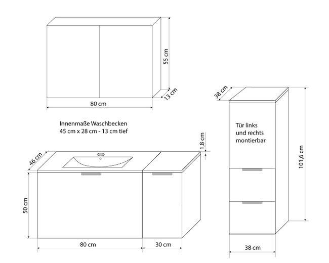 Badmöbel Set Gently 1 V3-L Hochglanz weiß, Badezimmermöbel, Waschtisch 80cm – Bild 5