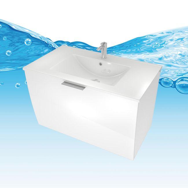 Badmöbel Set Gently 1 V3-L Hochglanz weiß, Badezimmermöbel, Waschtisch 80cm – Bild 10
