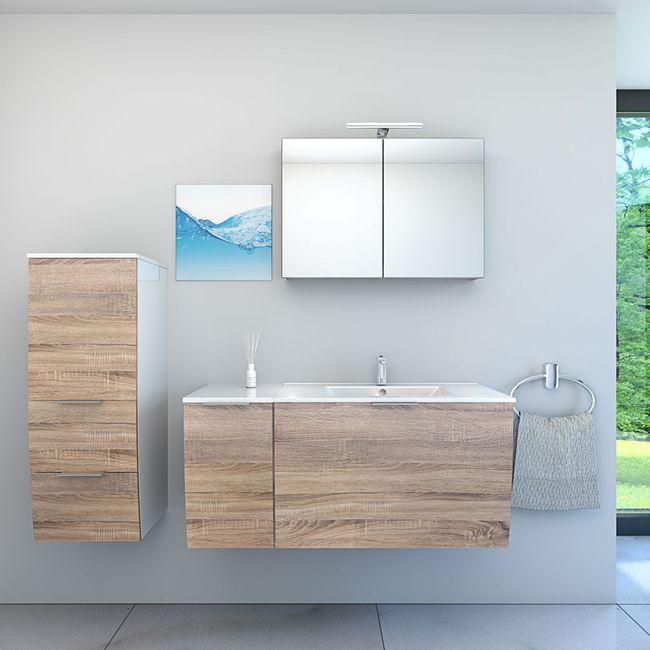 Badmöbel Set Gently 1 V3-L weiß / Eiche hell, Badezimmermöbel, Waschtisch 80cm – Bild 1