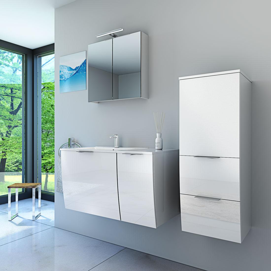 badmöbel set gently 1 v3r hochglanz weiß badezimmermöbel
