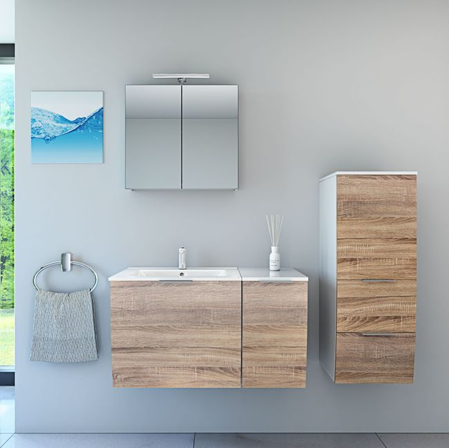Badmöbel Set Gently 1 V3-R weiß / Eiche hell, Badezimmermöbel, Waschtisch 60cm – Bild 1