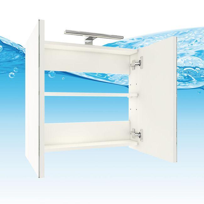 Badmöbel Set Gently 1 V3-R weiß / Eiche hell, Badezimmermöbel, Waschtisch 60cm – Bild 7