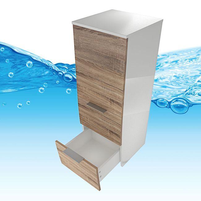 Badmöbel Set Gently 1 V3-R weiß / Eiche hell, Badezimmermöbel, Waschtisch 80cm – Bild 16