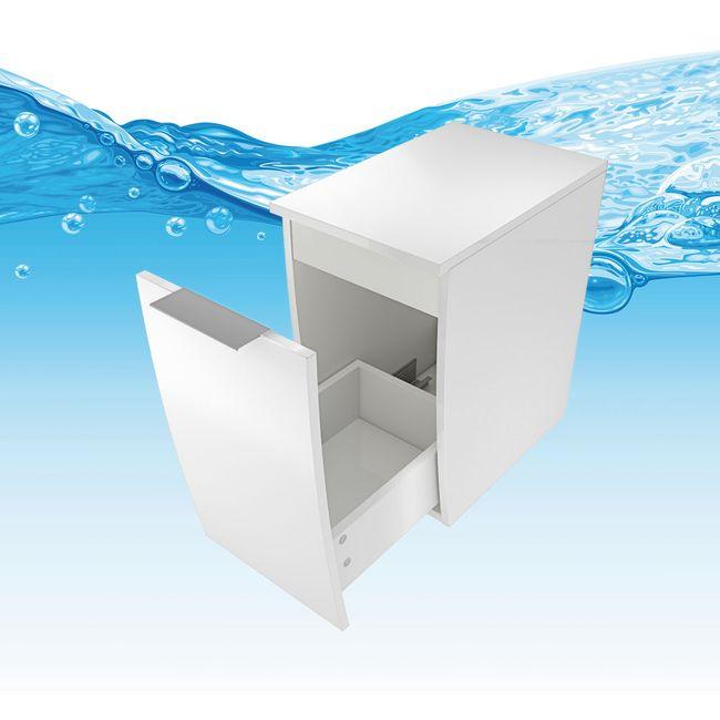 Badmöbel Set Gently 1 V4-L Hochglanz weiß, Badezimmermöbel, Waschtisch 60cm – Bild 11