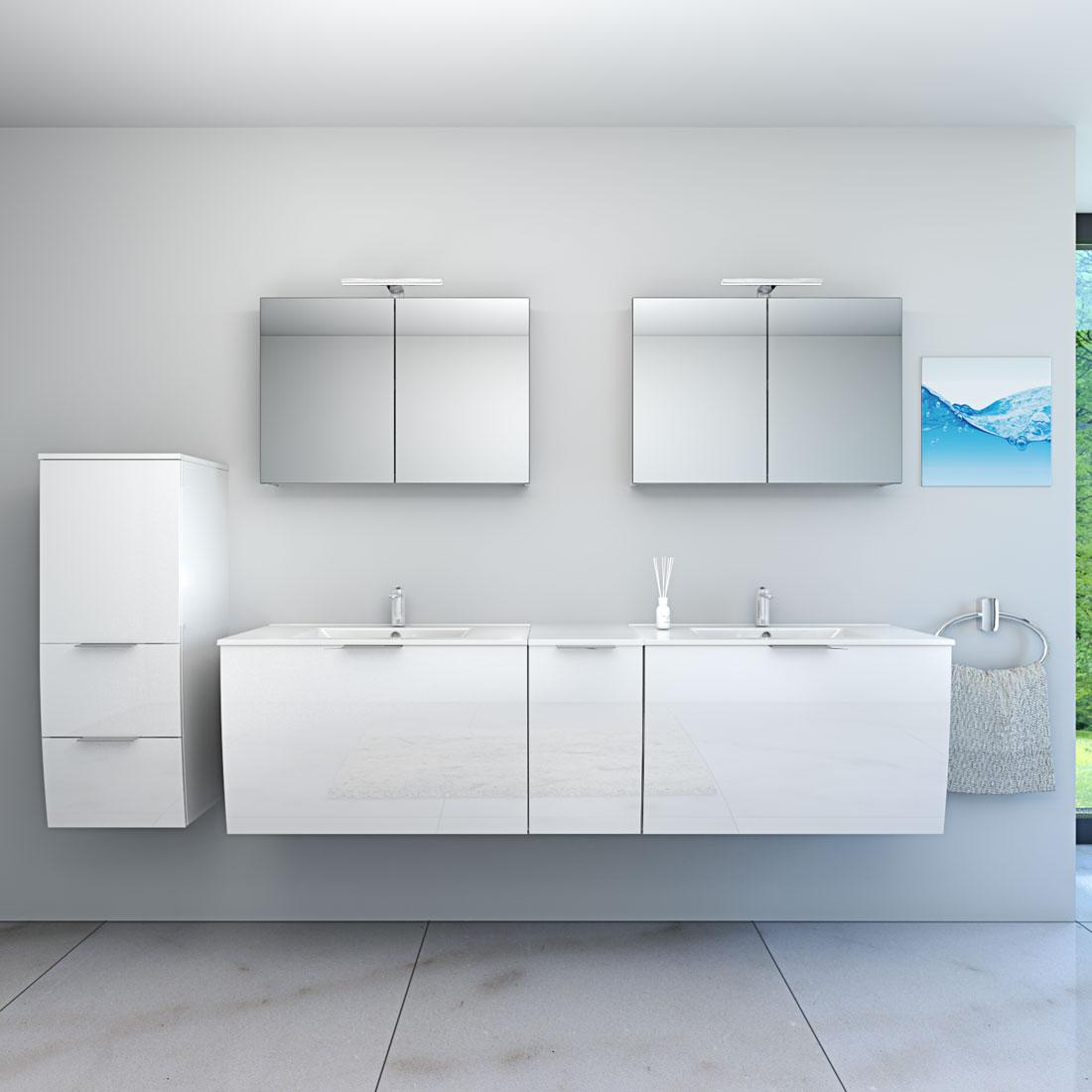 Badmöbel Set Gently 1 V4-L Hochglanz weiß, Badezimmermöbel, Waschtisch