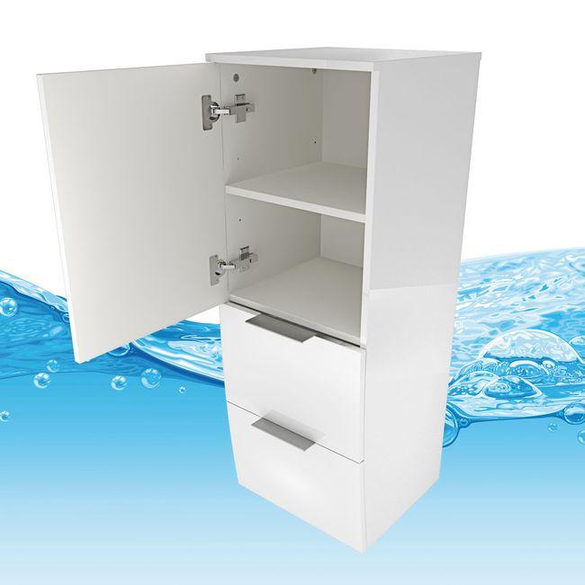 Badmöbel Set Gently 1 V4-L Hochglanz weiß, Badezimmermöbel, Waschtisch 80cm – Bild 11