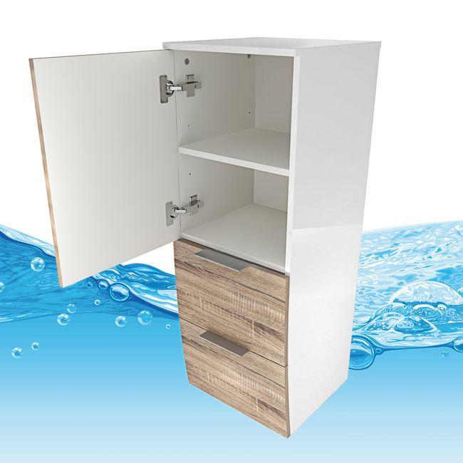Badmöbel Set Gently 1 V4-L weiß / Eiche hell, Badezimmermöbel, Waschtisch 80cm – Bild 14