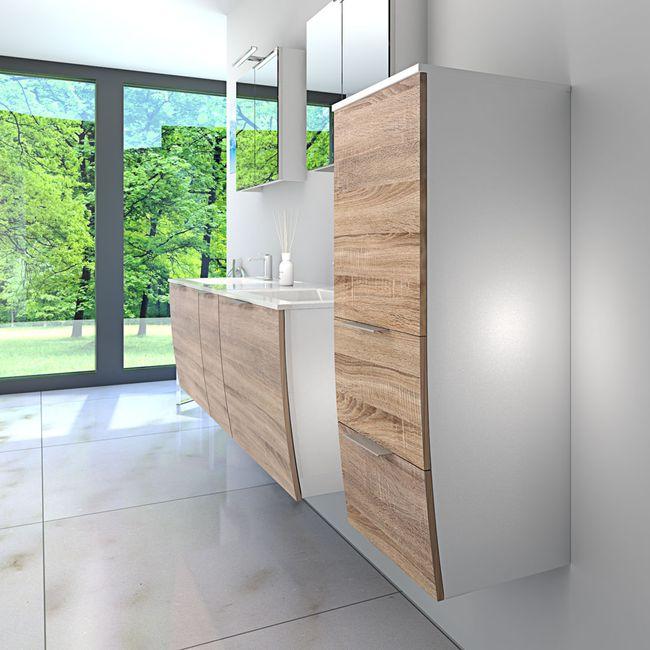Badmöbel Set Gently 1 V4-R weiß / Eiche hell, Badezimmermöbel, Waschtisch 60cm – Bild 3