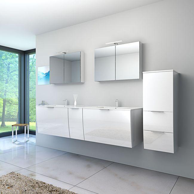 Badmöbel Set Gently 1 V4-R Hochglanz weiß, Badezimmermöbel, Waschtisch 80cm – Bild 2
