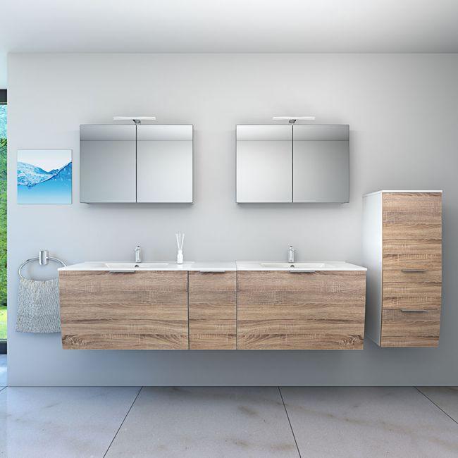 Badmöbel Set Gently 1 V4-R weiß / Eiche hell, Badezimmermöbel, Waschtisch 80cm – Bild 1