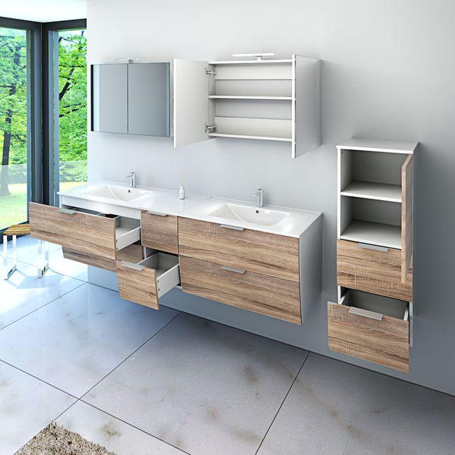 Badmöbel Set Gently 2 V4-R weiß / Eiche hell, Badezimmermöbel, Waschtisch 80cm – Bild 4