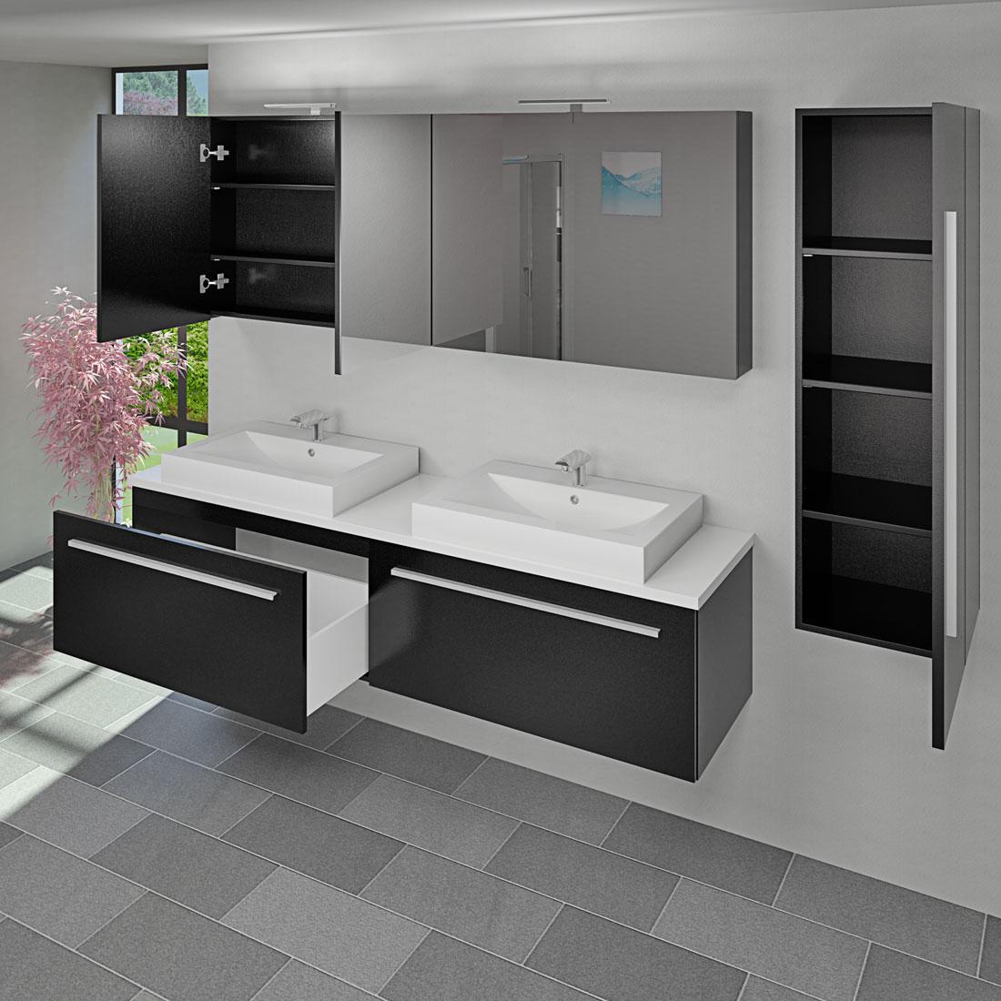 badm bel set city 200 v3 esche schwarz badezimmerm bel waschtisch 200cm. Black Bedroom Furniture Sets. Home Design Ideas