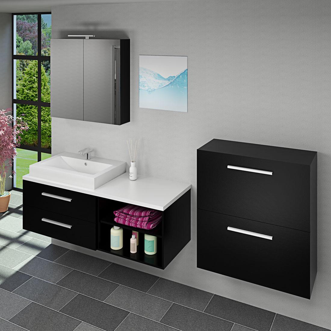 badm bel set city 205 v6 esche schwarz badezimmerm bel waschtisch 140cm. Black Bedroom Furniture Sets. Home Design Ideas