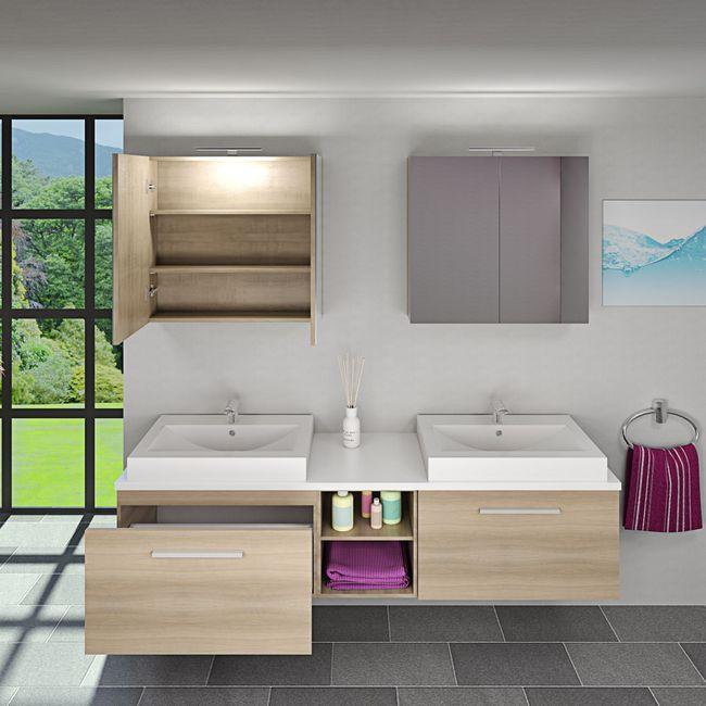 Badmöbel Set City 306 V1 Eiche hell, Badezimmermöbel, Waschtisch 200cm – Bild 3