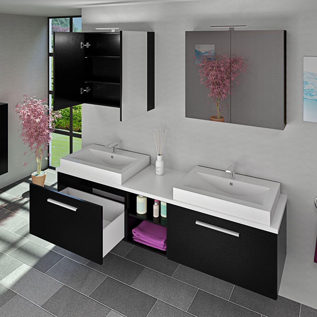 badm bel set city 306 v1 esche schwarz badezimmerm bel waschtisch 200cm. Black Bedroom Furniture Sets. Home Design Ideas
