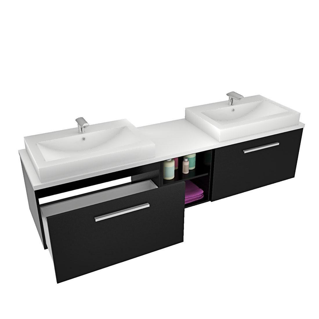 waschtisch mit waschbecken unterschrank city 306 200cm esche schwarz. Black Bedroom Furniture Sets. Home Design Ideas