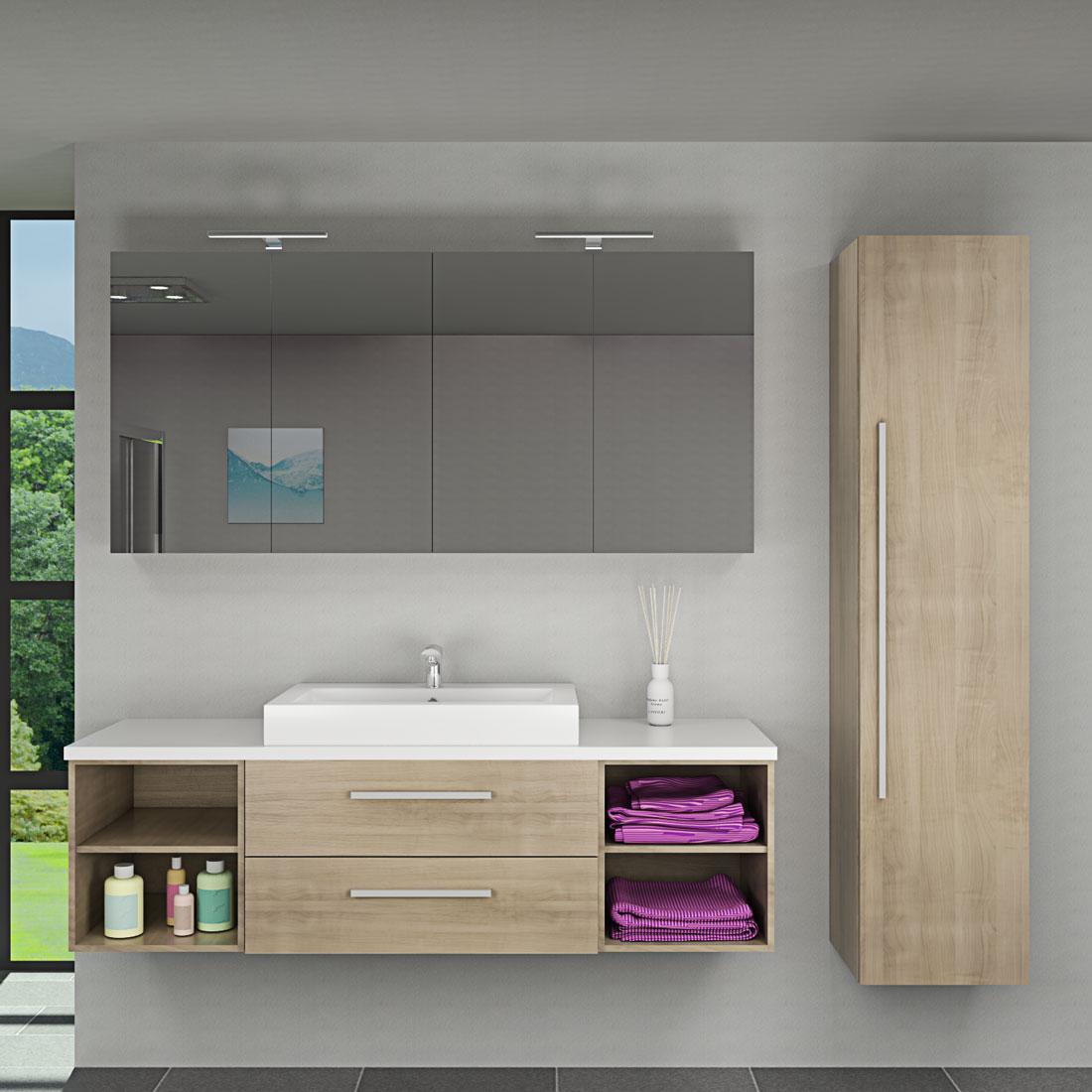 badm bel set city 313 v4 eiche hell badezimmerm bel waschtisch 160cm. Black Bedroom Furniture Sets. Home Design Ideas