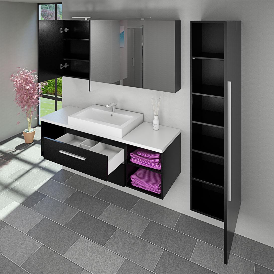 Spiegelschrank badspiegel badezimmer spiegel city 160cm for Bad spiegelschrank schwarz