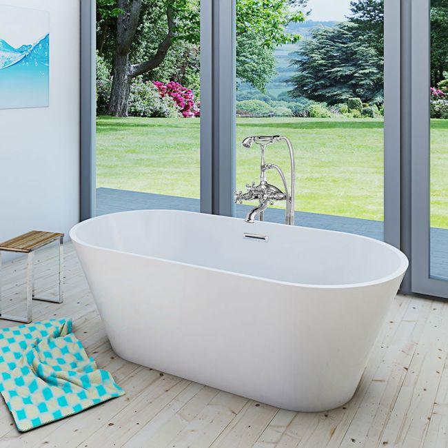 AcquaVapore freistehende Badewanne Wanne Acryl FSW01 170x80cm Armatur wählbar – Bild 13