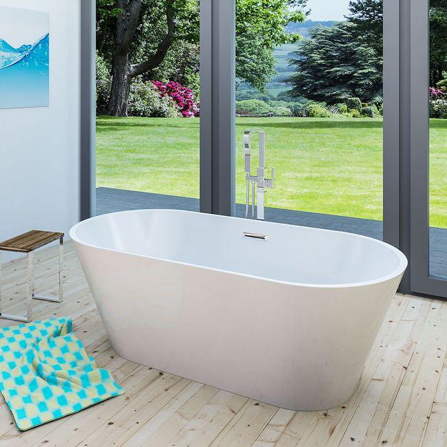 AcquaVapore freistehende Badewanne Wanne Acryl FSW01 170x80cm Armatur wählbar – Bild 1