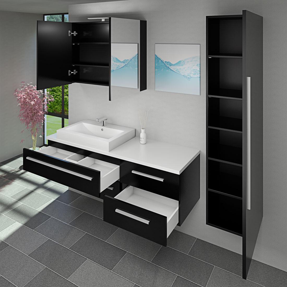 badm bel set city 210 v4 esche schwarz badezimmerm bel waschtisch 160cm. Black Bedroom Furniture Sets. Home Design Ideas