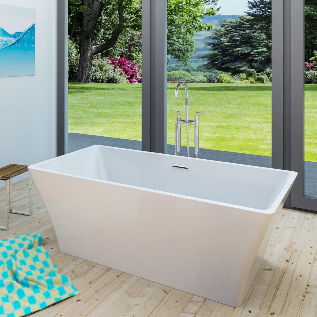acquavapore freistehende badewanne wanne acryl fsw02 170x80cm armatur w hlbar. Black Bedroom Furniture Sets. Home Design Ideas