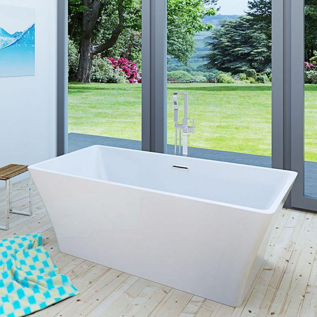 AcquaVapore freistehende Badewanne Wanne Acryl FSW02 170x80cm Armatur wählbar – Bild 1