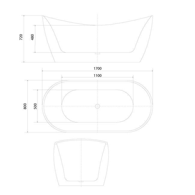 AcquaVapore freistehende Badewanne Wanne Acryl FSW03 170x80cm Armatur wählbar – Bild 4