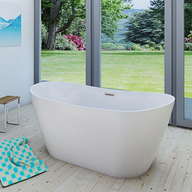 AcquaVapore freistehende Badewanne Wanne Acryl FSW03 170x80cm Armatur wählbar – Bild 8