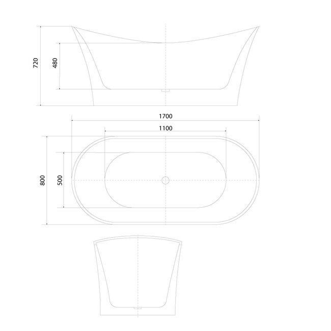 AcquaVapore freistehende Badewanne Wanne Acryl FSW04 170x80cm Armatur wählbar – Bild 4