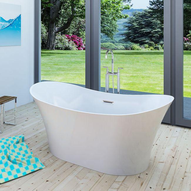 AcquaVapore freistehende Badewanne Wanne Acryl FSW04 170x80cm Armatur wählbar – Bild 25