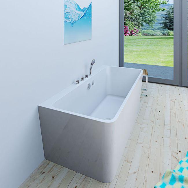 AcquaVapore freistehende Badewanne Wanne Acryl FSW05 170x80cm Armatur wählbar – Bild 11
