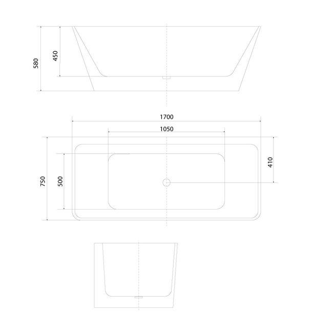 AcquaVapore freistehende Badewanne Wanne Acryl FSW05 170x80cm Armatur wählbar – Bild 12