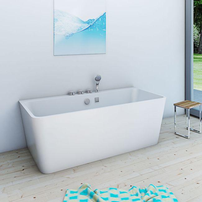AcquaVapore freistehende Badewanne Wanne Acryl FSW05 170x80cm Armatur wählbar – Bild 2