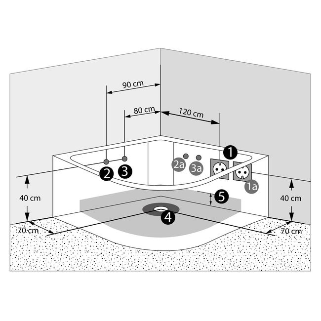 Whirlpool Pool Badewanne Eckwanne Wanne A1420-ALL 140x140cm Reinigungsfunktion – Bild 15