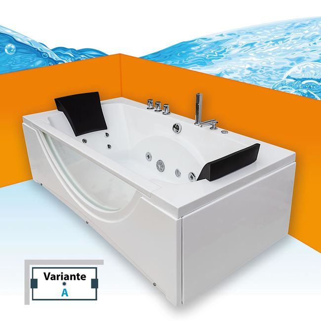 Whirlpool Pool Badewanne Eckwanne Wanne A1821-ALL 180x90cm Reinigungsfunktion – Bild 12