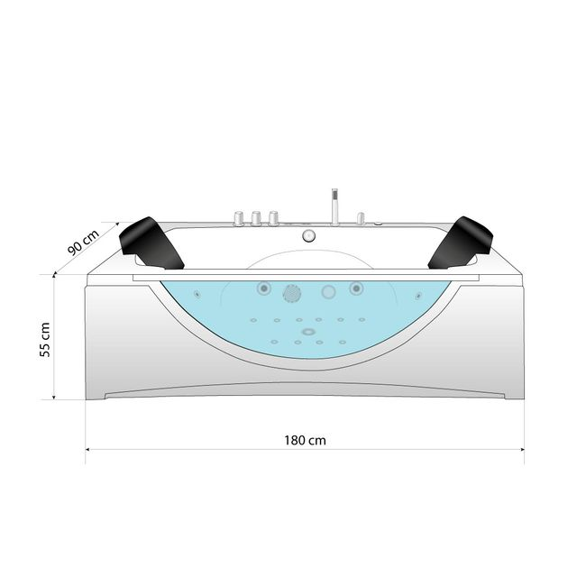 Whirlpool Pool Badewanne Eckwanne Wanne A1821N-B-ALL 180x90cm Reinigungsfunktion – Bild 16