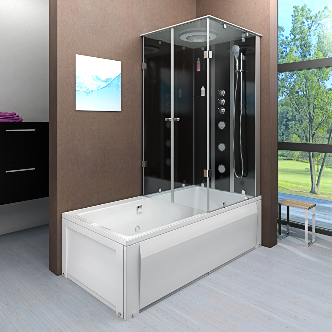 acquavapore dtp50 a304l dusch wannen kombi in 180x90cm trendbad24. Black Bedroom Furniture Sets. Home Design Ideas