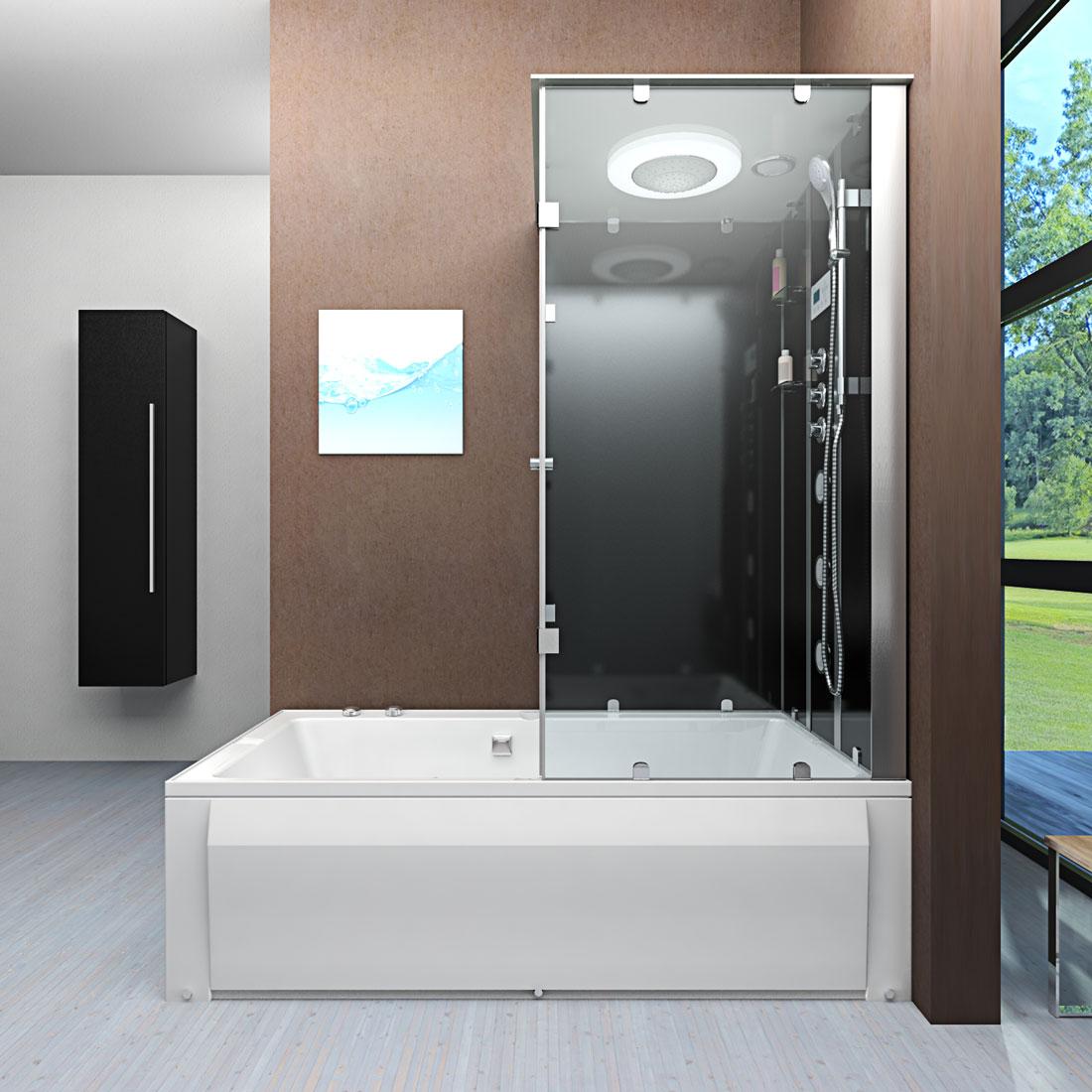 acquavapore dtp50 sw dusch wannen kombi in 180x90cm trendbad24. Black Bedroom Furniture Sets. Home Design Ideas