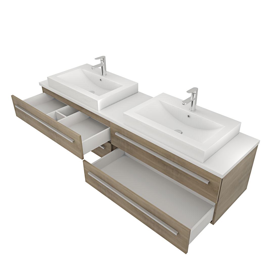 waschtisch mit waschbecken unterschrank city 201 200cm eiche hell. Black Bedroom Furniture Sets. Home Design Ideas