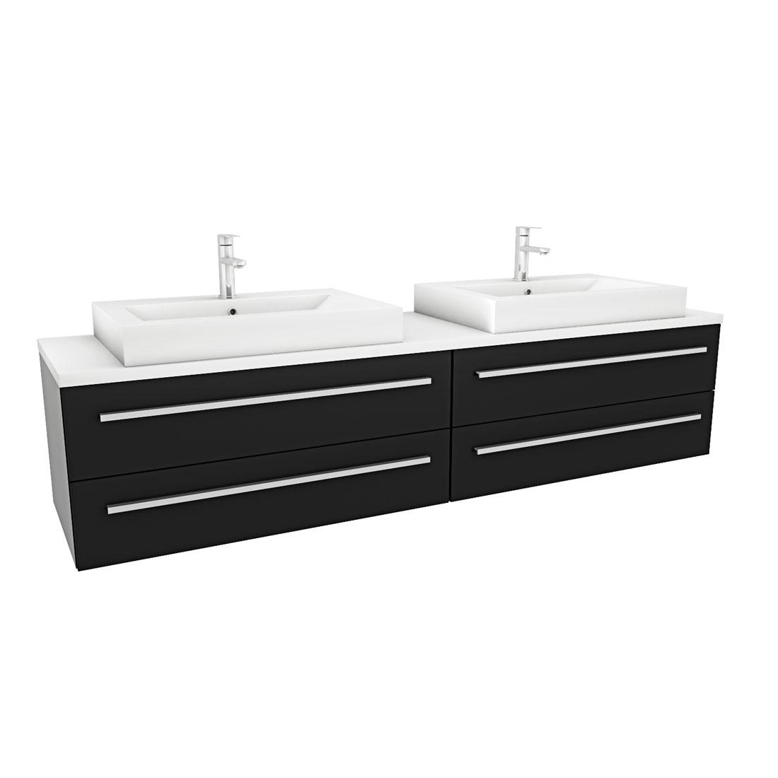 waschtisch mit waschbecken unterschrank city 201 200cm esche schwarz. Black Bedroom Furniture Sets. Home Design Ideas