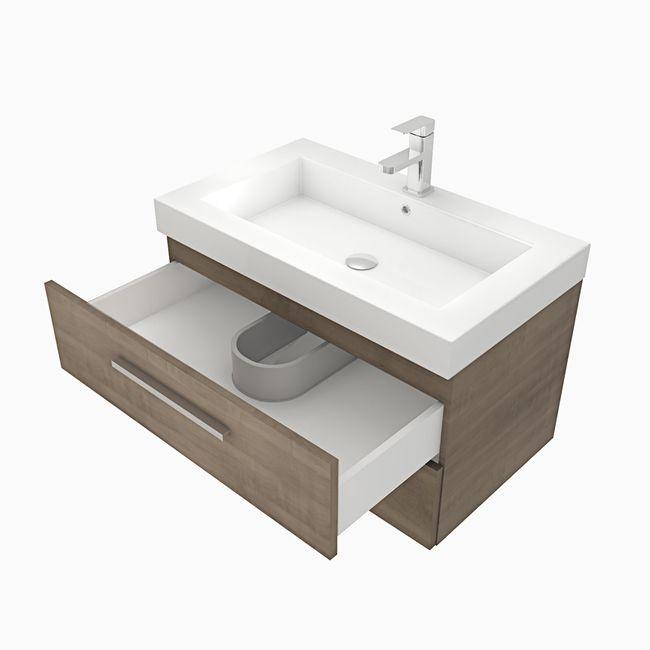 Waschtisch mit Waschbecken, Unterschrank City 101 80cm Eiche hell – Bild 2
