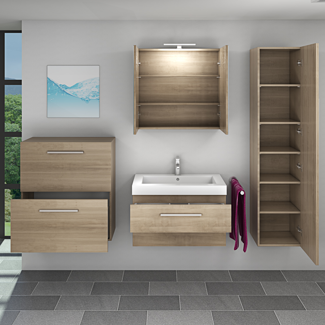 badm bel set city 101 v5 eiche hell badezimmerm bel waschtisch 80cm. Black Bedroom Furniture Sets. Home Design Ideas