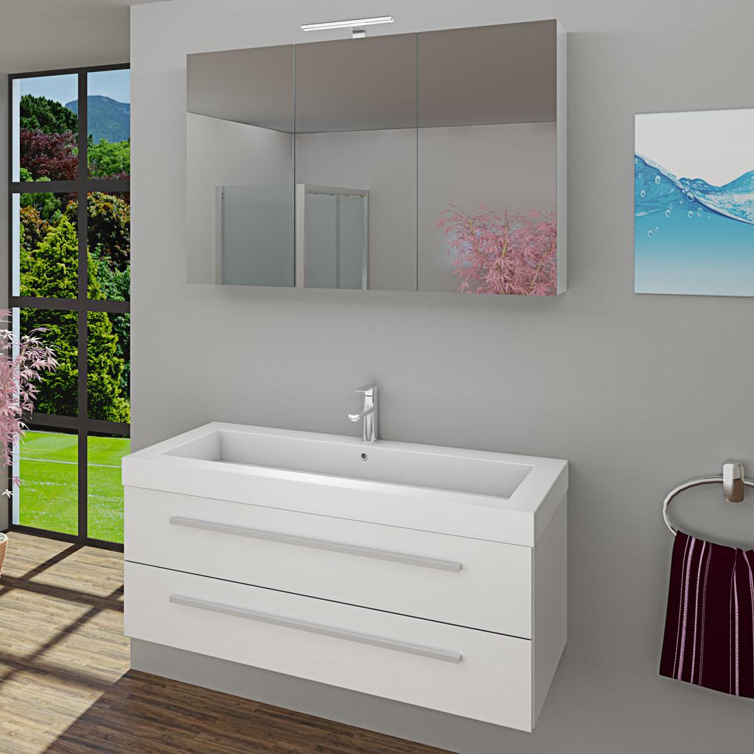 waschtisch mit waschbecken unterschrank city 101 120cm hochglanz wei. Black Bedroom Furniture Sets. Home Design Ideas