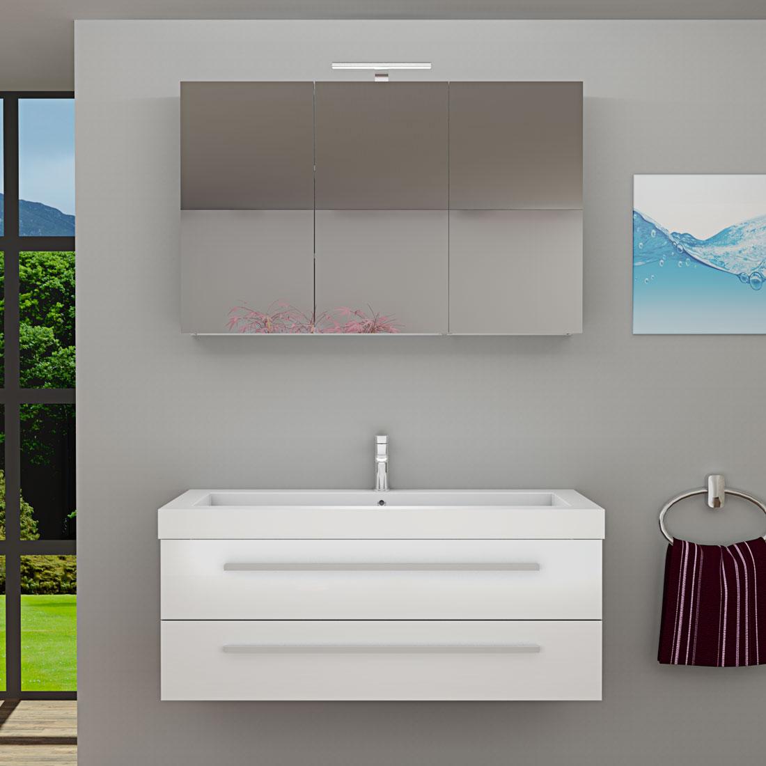Badezimmermöbel weiss günstig  Badmöbel Set City 101 V1 Hochglanz Weiß, Badezimmermöbel, Waschtisch
