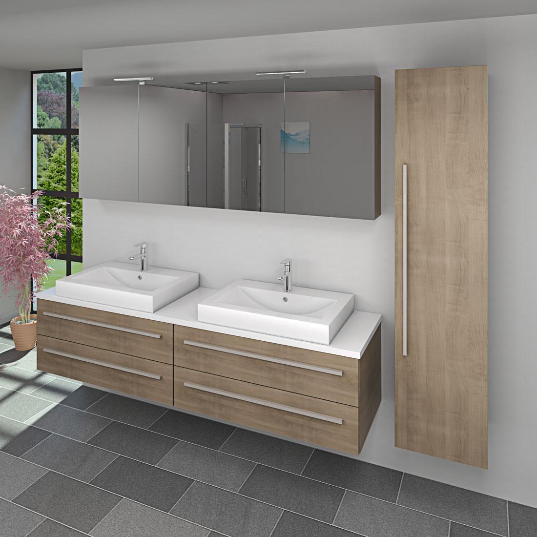 badm bel set city 201 v4 eiche hell badezimmerm bel waschtisch 200cm. Black Bedroom Furniture Sets. Home Design Ideas