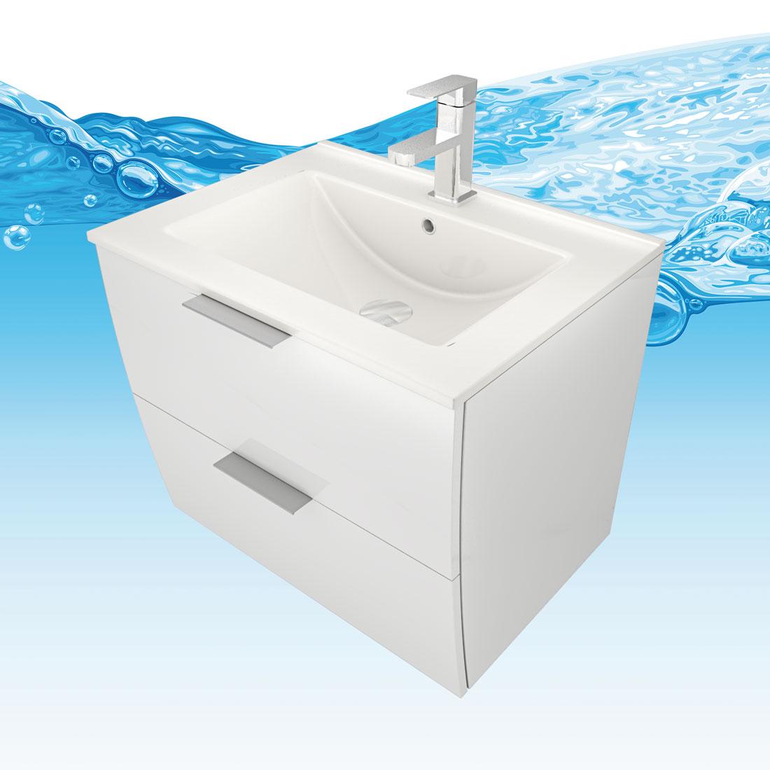 Waschtisch Mit Waschbecken Unterschrank Gently 2 60cm Hochglanz