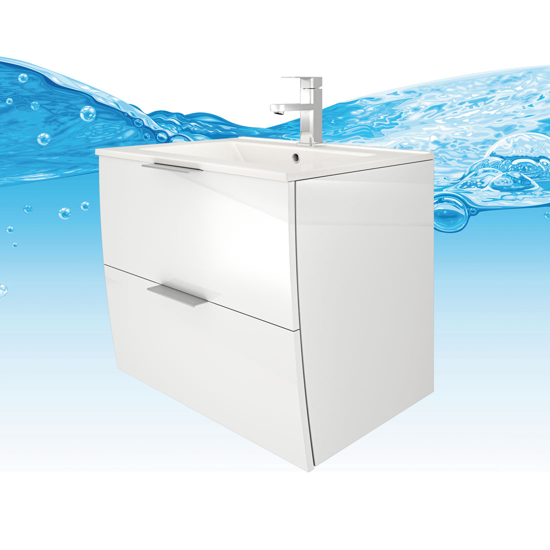 waschtisch mit waschbecken unterschrank gently 2 60cm hochglanz wei. Black Bedroom Furniture Sets. Home Design Ideas