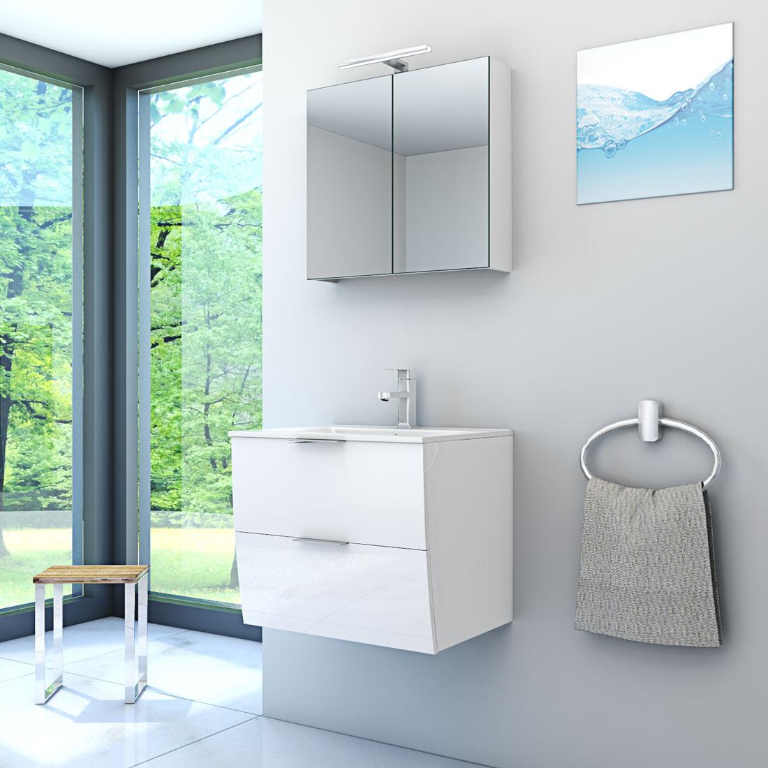badm bel set gently 2 v1 hochglanz wei badezimmerm bel waschtisch 60cm. Black Bedroom Furniture Sets. Home Design Ideas