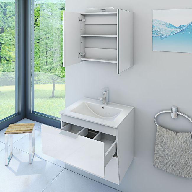 Badmöbel Set Gently 2 V1 Hochglanz weiß, Badezimmermöbel, Waschtisch 60cm – Bild 3